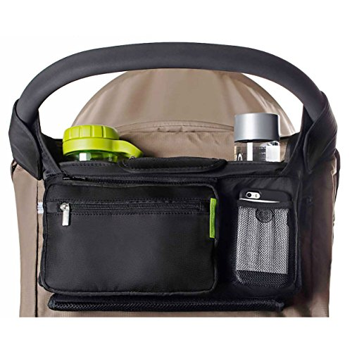 Ethan & Emma Universal Baby Stroller Organizer with Insulated Cup Holders for Smart Moms. Diaper Storage, Secure Straps, Detachable Bag, Pockets for Phone, Keys, Toys. Compact Design Fit All Strollers