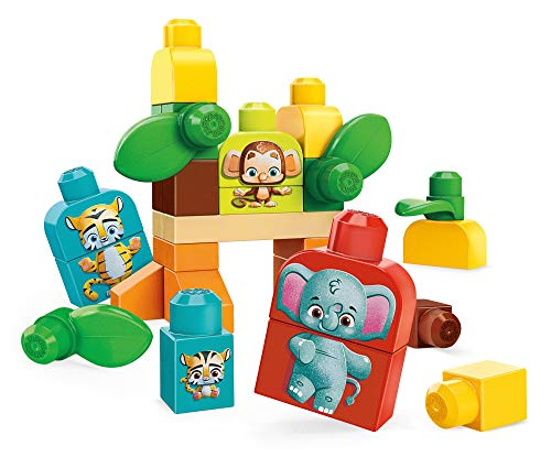 Mega Bloks First Builders Safari Friends with Big Building Blocks, Plant-Based Building Toys for Toddlers (30 Pieces)