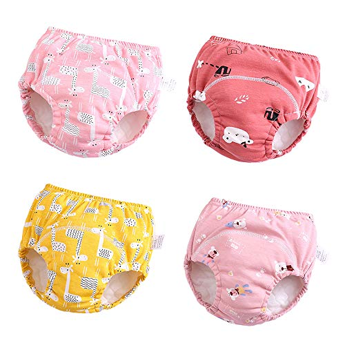 U0U Baby Girls 4 Pack Cotton Training Pants Toddler Potty Training Underwear for Boys and Girls Pink 3T