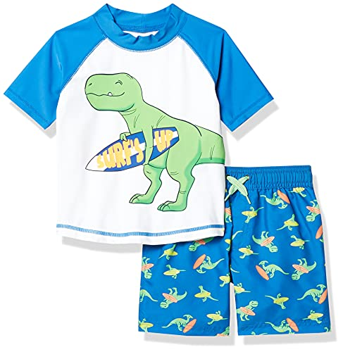 Simple Joys by Carter's Baby Boys' 2-Piece Swimsuit Trunk and Rash guard, Blue Dino, 3-6 Months