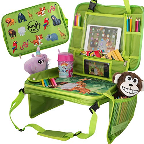 Kids Travel Tray & Car Seat Table for Toddler Travel, BONUS Coloring Book & 12 Crayons for Kids Car Activities, Travel Accessories & Organizer for Kids