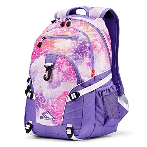 High Sierra Loop-Backpack, School, Travel, or Work Bookbag with tablet-sleeve, Unicorn Clouds/Lavender/White, One Size