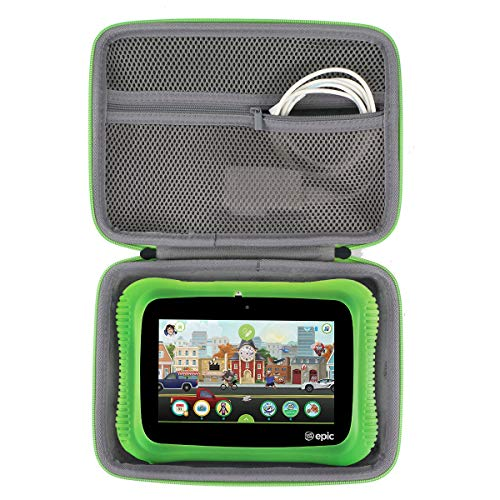 co2crea Hard Travel Case Replacement for Leapfrog Epic Academy Edition 7-Inch Touchscreen Kids Tablet, Black Case + Green Zipper