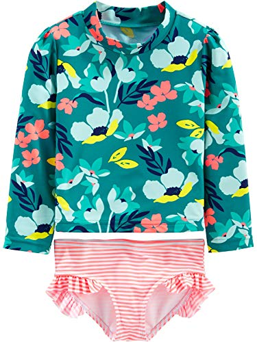 Simple Joys by Carter's Girls' 2-Piece Assorted Rashguard Sets, Floral/Green, 3-6 Months