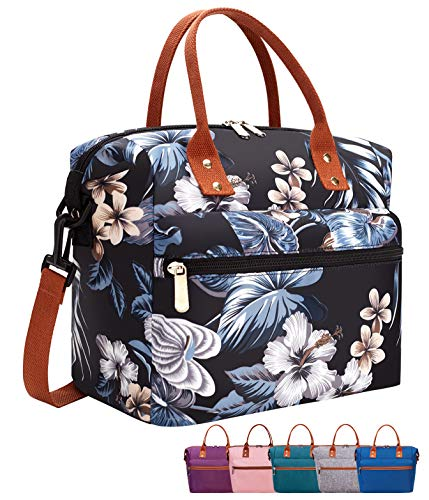 Leakproof Insulated Lunch Tote Bag with Adjustable & Removable Shoulder Strap, Durable Reusable lunch Box Container for Women/Men/Picnic/Work-Black Lily
