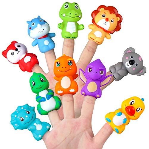 Vanmor Rubber Animal Bath Finger Puppets for Toddlers, Kids Stocking Stuffer Toys for Boys Girls Pinata Fillers Goodie Bag Fillers, Party Favors Easter Basket Stuffers