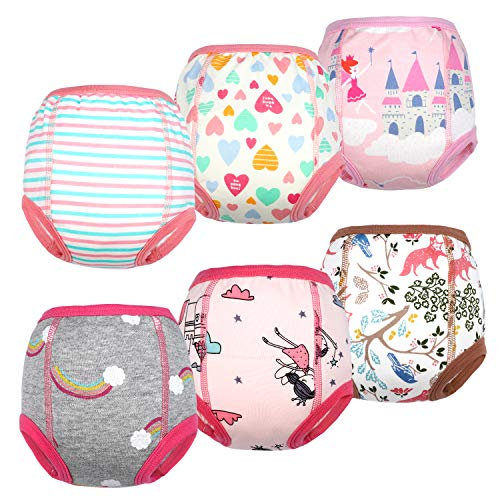 MooMoo Baby Cotton Training Pants Strong Absorbent Toddler Potty Training Underwear for Baby Girl 5T