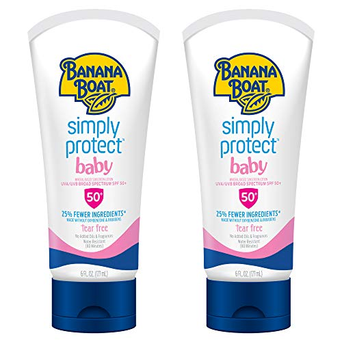 Banana Boat Baby 100% Mineral, Tear-Free, Reef Friendly, Broad Spectrum Sunscreen Lotion, SPF 50, 6oz. - Twin Pack