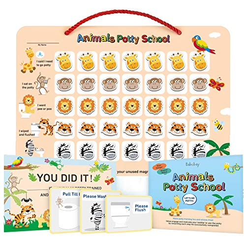 Potty Training Chart for Toddlers,Boys,Girls - Animal Design - Magnetic Sticker Chart, Waterproof Magnetic Potty Training Reward Chart, Certificate, 3 Instruction Steps, 35 Magnetic Stickers