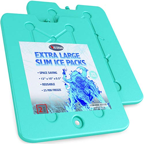 Ice Packs for Coolers - Large, Space Saving - No Ice Required - Reusable Long Lasting (-5C) Large Thin Freezer Packs - 10 x 13 Inch, Freezes in 25 Minutes