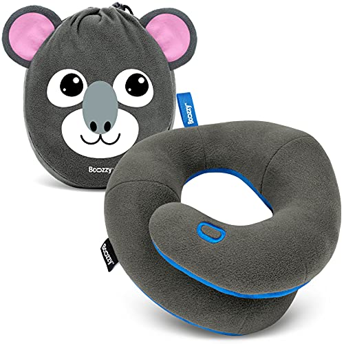 BCOZZY Kids Chin Supporting Travel Pillow for 3-7 Y/O -Stops The Head from Falling Forward– Comfortable Road Trip Essential. Soft, Washable, Small Size, Gray, Koala Bag