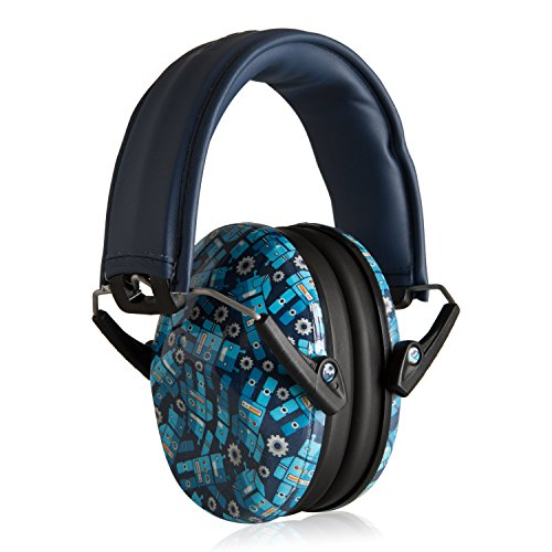 Muted Designer Hearing Protection for Infants & Kids - Adjustable Children's Ear Muffs from Toddler to Teen - Robot Blue