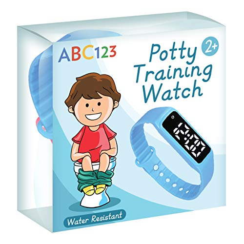 ABC123 Potty Training Watch - Baby Reminder Water Resistant Timer for Toilet Training Kids & Toddler (Blue)