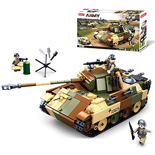 Sluban WWII-Medium Tank Building Blocks Toy, 2 in 1 Educational Learning Construction Toys Set for Kids Boys Grils Ages 6 and up (725 pcs)