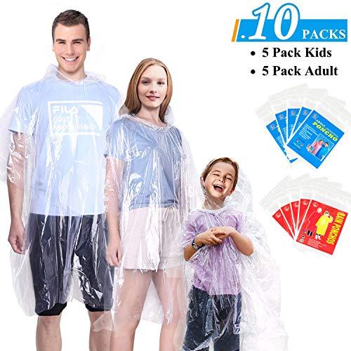 GINMIC Rain Ponchos for Kids and Adults, Disposable Emergency Rain Ponchos