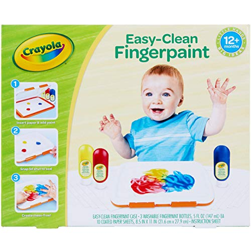 Crayola Washable Finger Paint Station, Less Mess Finger Paints for Toddlers, Kids Gift, 2 ounces