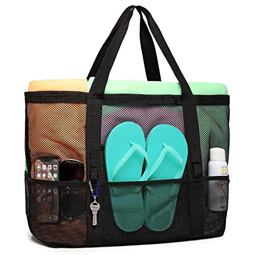 Beach Bag, F-color Mesh Beach Bag Oversized Beach Tote 9 Pockets Beach Toy Bag
