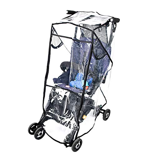 Stroller Rain Cover Universal, Black Clear Baby Travel Weather Shield for Outdoor Protection, Stroller Cover for Winter Infant for Windproof, Waterproof, Protect from Sun Dust Snow