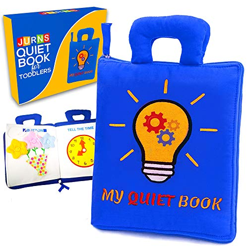Jurns Quiet Book for Toddlers - Montessori Basic Skills Activity Travel Toy - Cloth Book for Toddlers - Educational Busy Book for 3 Year Old Boys & Girls