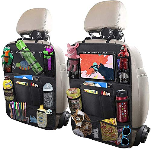 """UCART Car Backseat Organizer with 10"""" Table Holder, 9 Storage Pockets Seat Back Protectors Kick Mats for Kids Toddlers, Travel Accessories, Black, 2 Pack"""