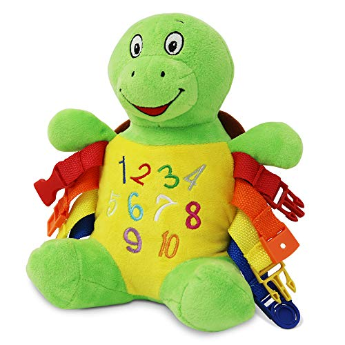 Buckle Toys - Bucky Turtle - Learning Activity Toy - Develop Motor Skills and Problem Solving - Counting and Color Recognition - Easy Travel Toy