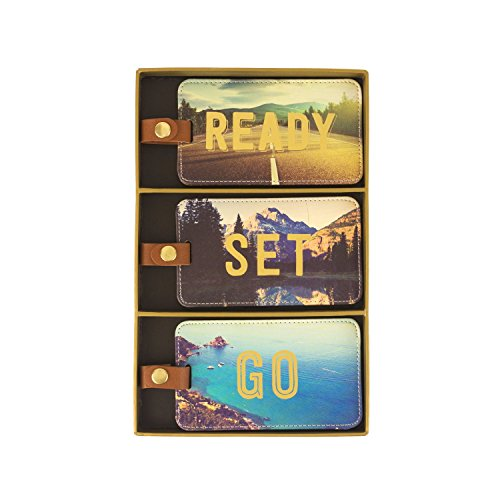 Eccolo World Traveler Luggage Tags, Set of 3, Travel Photo - Ready, Set, Go (D917C)