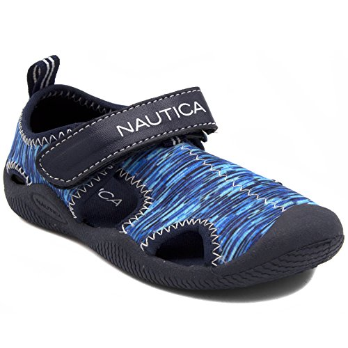 Nautica Infant Baby Sandal With Strap - Newborn Boys Girls Water Shoes -Tiny Kettle Gulf-Blue Multi 2-1