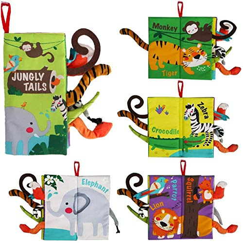 beiens Soft Toys Baby Cloth Books, Touch and Feel Crinkle Books for Babies, Infants & Toddler, Early Development Interactive Car Stroller Toys Gifts for Boys & Girls (Jungle Tails-1 Book)
