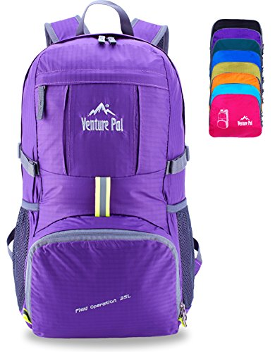 Venture Pal Ultralight Lightweight Packable Foldable Travel Camping Hiking Outdoor Sports Backpack Daypack-Purple