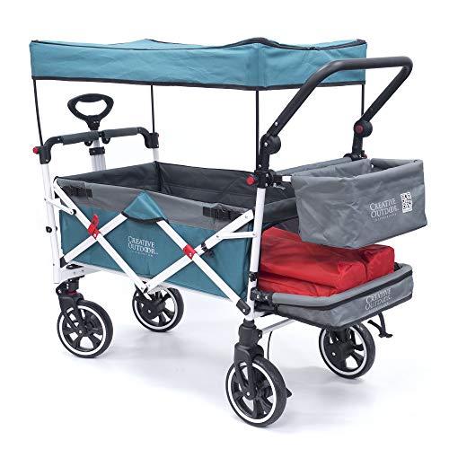 "Creative Outdoor Push Pull Collapsible Folding Wagon Stroller Cart for Kids   Titanium Series   Beach Park Garden & Tailgate (Teal)"""