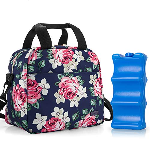 Teamoy Breastmilk Cooler Bag with Ice Pack, Travel Baby Bottle Carrier Tote Bag Fits Up to 6 Large 9 Ounce Bottles, Peony