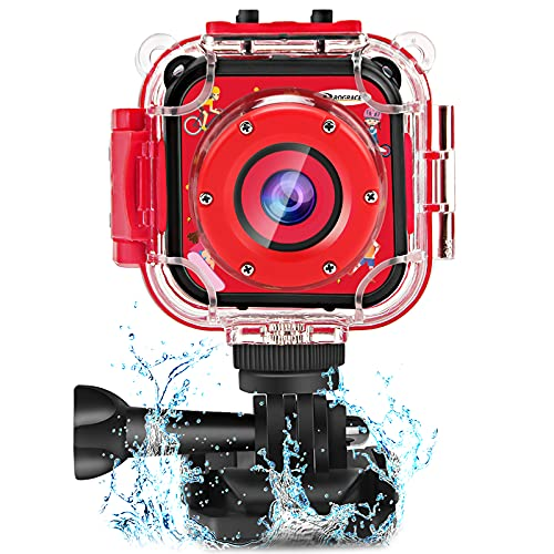 PROGRACE Children Kids Camera Waterproof Digital Video HD Action Camera 1080P Sports Camera Camcorder DV for Boys Birthday Learn Camera Toy 1.77'' LCD Screen(Red)