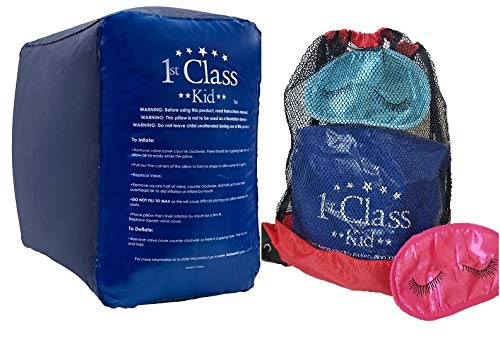 1st Class Kid XL Inflatable FootRest Leg Rest Travel Pillow; Kid Child Toddler Plane Bed, 1 Footstool with 1 Drawstring Bag & 1 Eye Mask. Ideal for Airplane, Car, Home, Office, RV, Camp, Car Pet Bed.