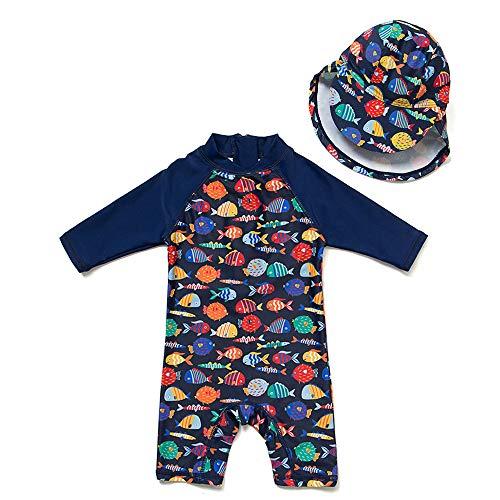 upandfast Baby 1/2 Sleeve Bathing Suit Infant One-Piece Rashguard (Colorful Fish,3-6 Months)