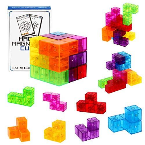 DASDAX Magnetic Building Blocks Magic Magnetic 3D Puzzle Cubes, Set of 7 Multi Shapes Magnetic Blocks with 54 Guide Cards, Intelligence Developing and Stress Relief Fidget Toys
