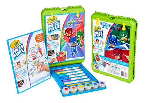 Crayola Color Wonder Travel Esel PJ Mask Pages with Bonus Pages, Markers and Color Wonder Paint Coloring Travel Books and Esel 61 Piece MEGA Set