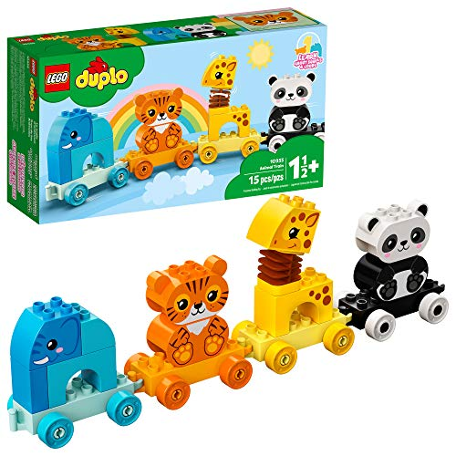 LEGO DUPLO My First Animal Train 10955 Pull-Along Toddlers' Animal Toy with an Elephant, Tiger, Giraffe and Panda, New 2021 (15 Pieces)