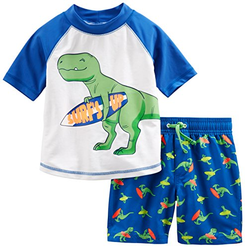 Simple Joys by Carter's Baby Boys' 2-Piece Swimsuit Trunk and Rashguard, Blue Dino, 3-6 Months