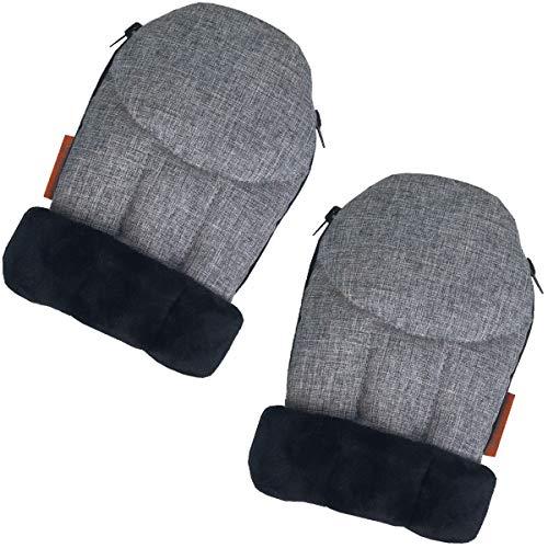 liuliuby CozyMitts - Weatherproof Stroller Hand Muff/Stroller Warmer Gloves for Freezing Winter - Universal Fit (Heather Gray)