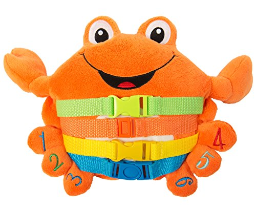 Buckle Toy - Barney Crab Stuffed Animal - Montessori Learning Toy for Toddlers - Develop Motor Skills and Problem Solving - Great Travel Activity