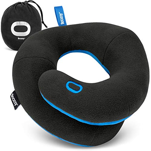 BCOZZY Chin Supporting Travel Pillow- Unique Patented Design Offers 3 Ergonomic Ways to Support The Head, Neck, and Chin When Traveling and at Home. Fully Washable. Large, Black