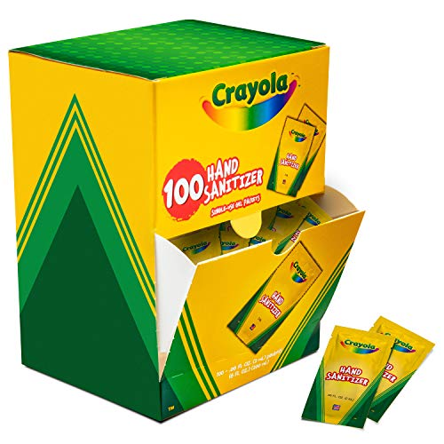 Crayola Pocket Hand Sanitizer for Kids, Box of 100 Single-Use Sanitizer Gel Packets, 2 ml ea.