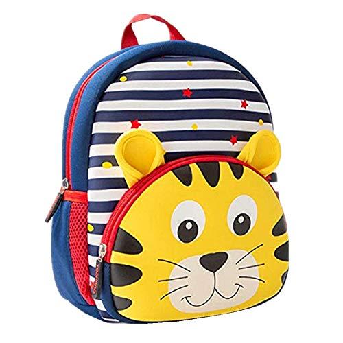 Toddler Backpack, Waterproof Preschool Backpack, 3D Cute Cartoon Neoprene Animal Schoolbag for Kids, Lunch Box Carry Bag for 1-6 Years Boys Girls, Tiger