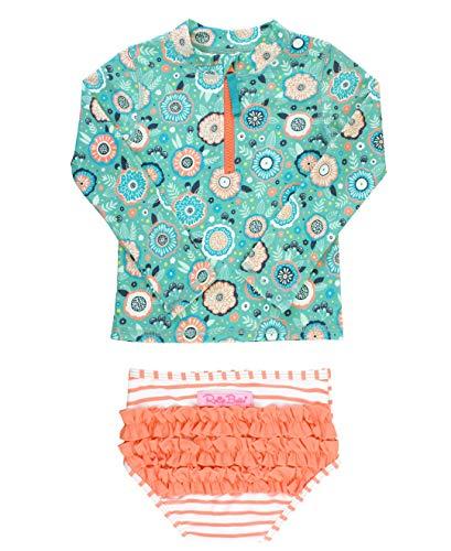 RuffleButts Baby/Toddler Girls Island Dream Long Sleeve Zipper Rash Guard Bikini - 3-6m
