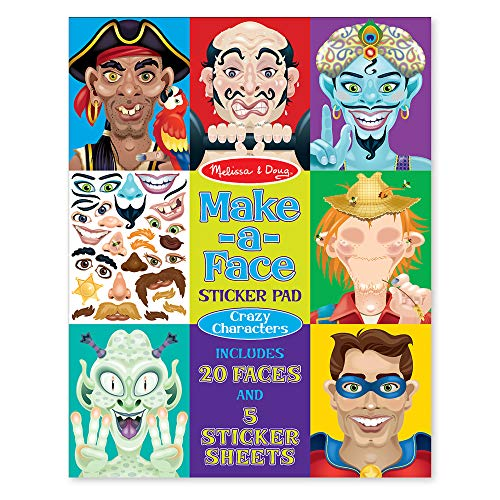 Melissa & Doug Make-a-Face Sticker Pad - Crazy Characters, 20 Faces, 5 Sticker Sheets
