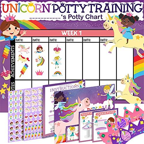 Potty Training Chart for Toddlers Girls, Unicorn Design - Sticker Chart, 4 Week Reward Chart - 213 Cute Stickers, Certificate, Instruction Booklet & Motivational Cards - Bonus Celebratory Crown