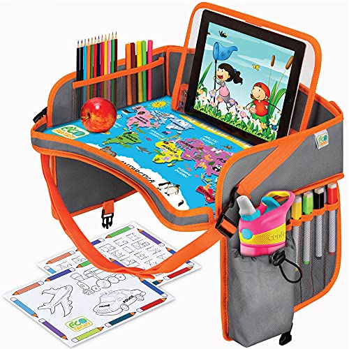 World Map Kids Car Seat Travel Tray - Carseat Organizer w/Dry Erase Board - Large Tablet & Cup Holder - Waterproof Food & Snack Kids Lap Tray Table - Road Trip Activities Toddlers & Big Kids for Years