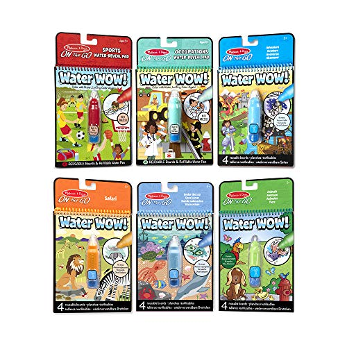 Melissa & Doug On the Go Water Wow! Reusable Color with Water Activity Pad 6-Pack, Sports, Occupations, Adventure, Safari, Under the Sea, Animals, Chunky-Size Water Pens, 10' H x 6' W x 1.5' L