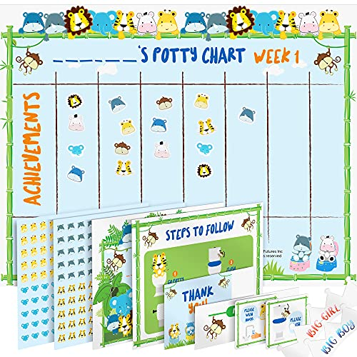 Potty Training Chart for Toddlers – Fun Animal Design - Reward Your Child – Sticker Chart, 4 Week Reward Chart, Certificate, Instruction Booklet and More – for Boys and Girls