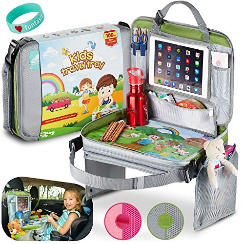 funtasit Grey Kids Travel Tray All-in-One Carry Bag, Size 16''/12'', Tab Holder.